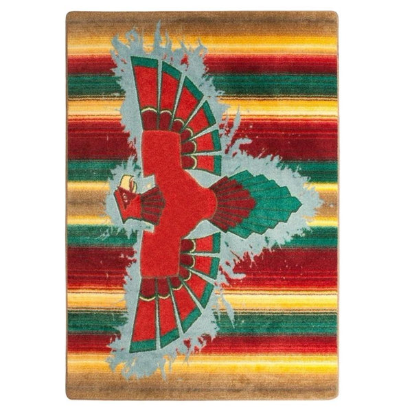 The Legend Of The Thunderbird - Stripe-CabinRugs Southwestern Rugs Wildlife Rugs Lodge Rugs Aztec RugsSouthwest Rugs