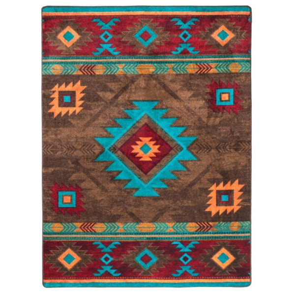 Whisky On The River - Turquoise-CabinRugs Southwestern Rugs Wildlife Rugs Lodge Rugs Aztec RugsSouthwest Rugs