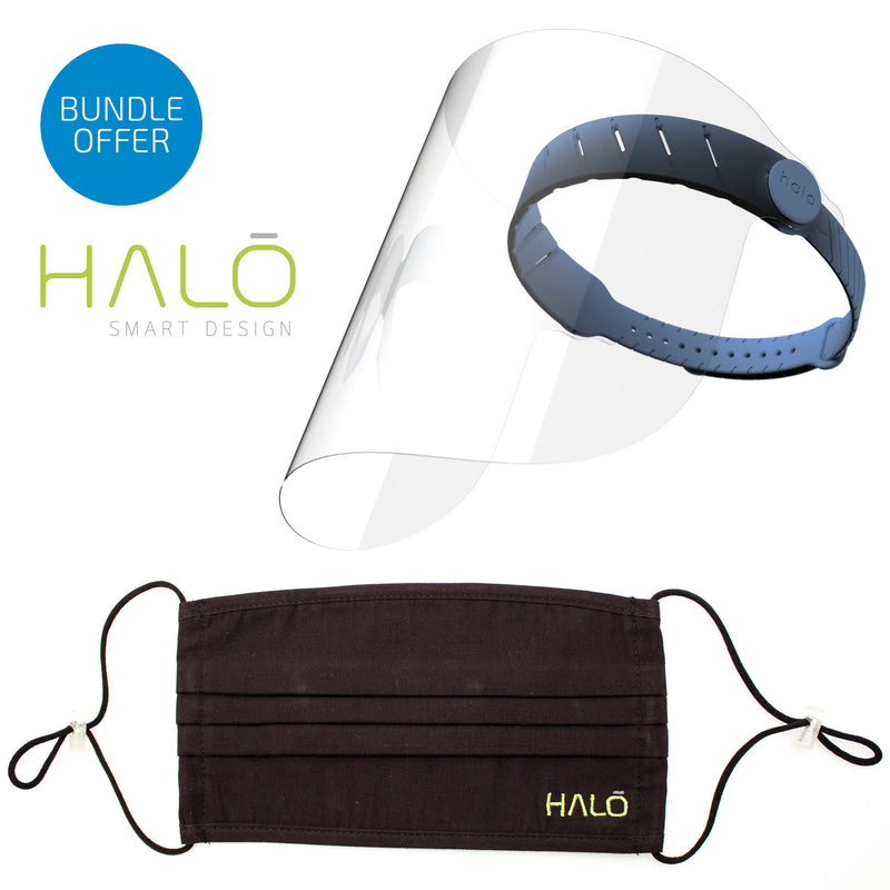 Halo Face Shield and Face Mask Bundle Offer (Prussian Blue) Save 20% on RRP