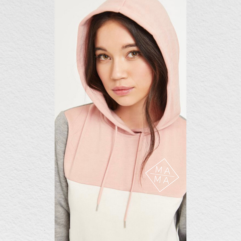 Colour Block Hoodie - Grey