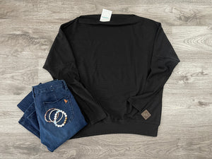Raglan Long Sleeve Top - Black