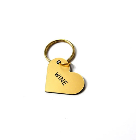 Wine Gold Heart Key Tag