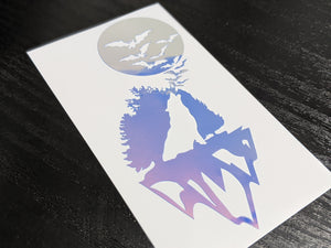 Wolf and Bats Silhouette