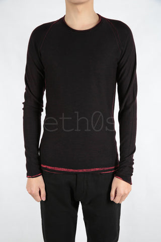 luc punched raglan printed sweater