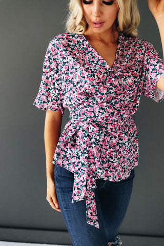 All Of Me Floral Tie Detail Top