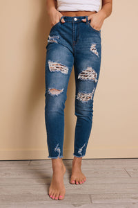 Leah Distressed Leopard Jeans
