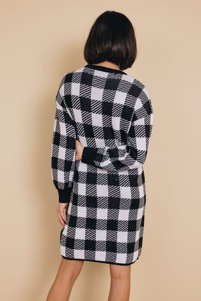 Raleigh Gingham Sweater Dress