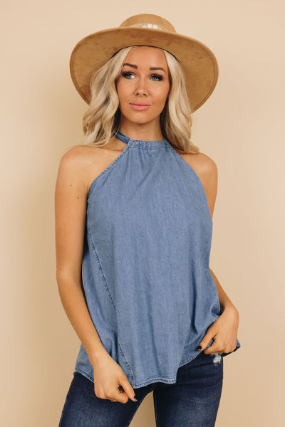 Grace Denim Halter Top