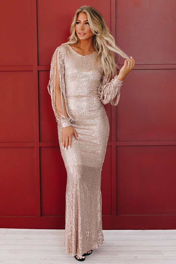 Holly Jolly Sequin Long Dress