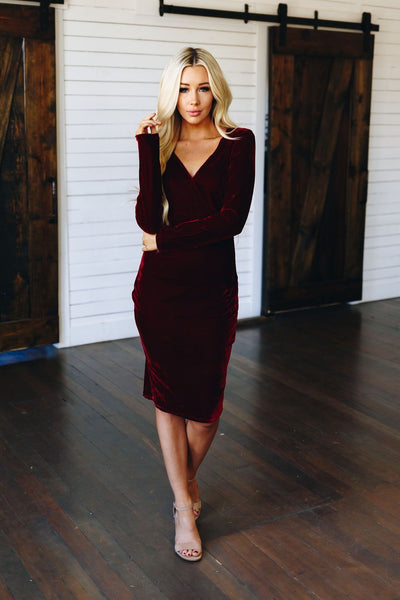 Candy Cane Velvet Midi Dress