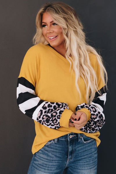No Bad Days Leopard Striped Top