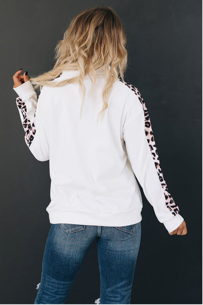 Cobblestone Leopard Detail Zip-Up Pullover