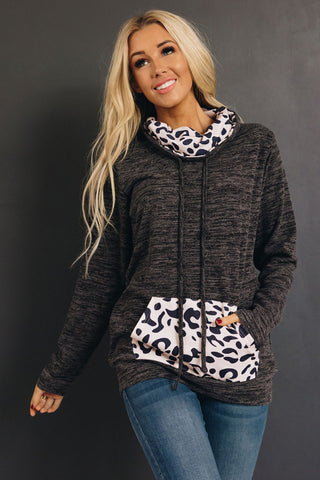 Penny Leopard Cowl Neck Pullover