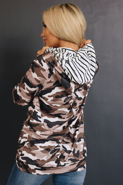 Never Stop Camo Double Hooded Hoodie