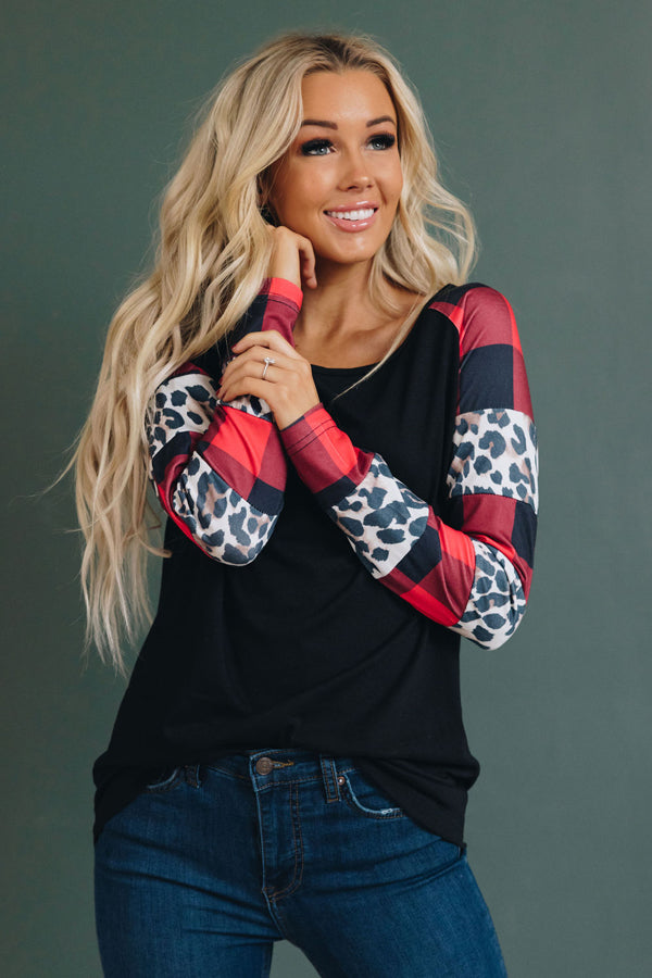 Noelle Leopard Plaid Sweatshirt