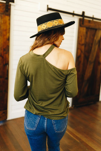 Hued Halter Long Sleeve Top