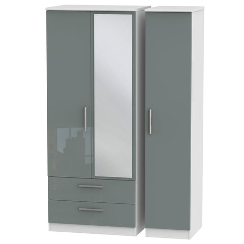 Knightsbridge Triple 2 Drawer Mirror Wardrobe