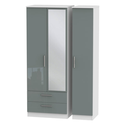 Knightsbridge Tall Triple 2 Drawer Mirror Wardrobe