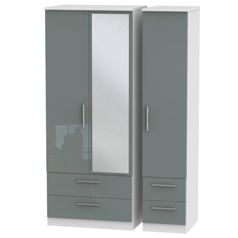 Knightsbridge Triple 2 Drawer Mirror + Drawer Wardrobe