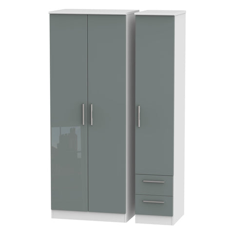 Knightsbridge Tall Triple Plain + Drawer Wardrobe