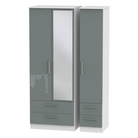 Knightsbridge Tall Triple 2 Drawer Mirror + Drawer Wardrobe