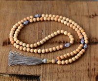 Mala Bead Necklace - 8MM Natural Stone and Wood