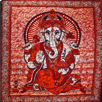 Red Ganesha Holding Lotus Flower Tapestry