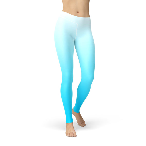 White Blue Ombre Yoga Pants
