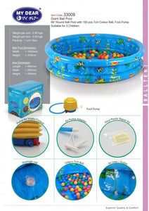 My Dear Giant 168cm Ball Pool 33009 With 100 Balls and Foot Pump Included Together, Suitable For Children 3 Years Old and Above