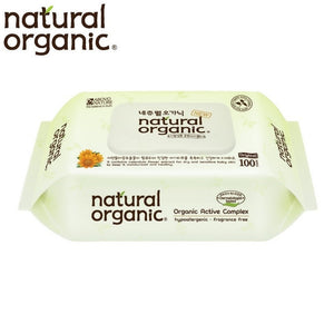 Natural Organic Baby Wipes Original Plain With Cap 100 Sheets Wet Tissues (1 Pack)