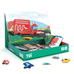 Toi World Magnetic Toy Box, Family Bonding Game, Develops Child's Imagination and Constructive Skills (Transport Design)