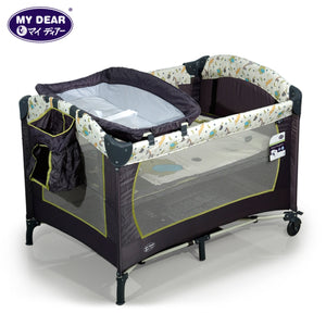 My Dear Baby Playpen 26014 With Side Pocket, Diaper Changer, Carry Bag and Mosquito Net Included