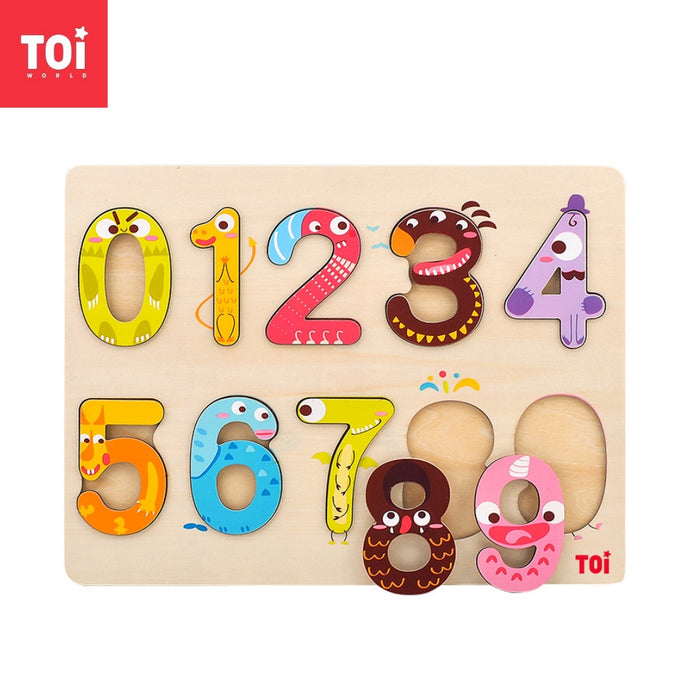 Toi World Monster Number 1 to 9 Puzzle Cognitive Development Wooden Toy