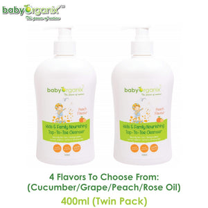 Baby Organix Kids & Family Top To Toe Cleanser 400ml TWIN PACK (Available in Cucumber, Grape, Peach or Rose Oil Flavors)