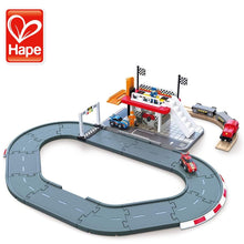 Load image into Gallery viewer, Hape Race Track Station, Wooden Realistic Kids Race Track Toy with Two Race Cars, Carriages & Repair Station