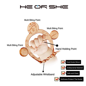 Heorshe Anti-Bacterial Adjustable Wristband Teether With Multiple Biting Points