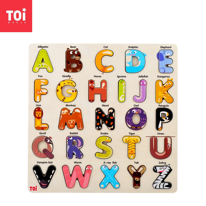Toi World Animal Alphabet Puzzle Uppercase ABC Cognitive Development Wooden Toy
