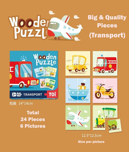 Toi World Big Wooden Puzzle (6x4 Pieces) Early Learning Toy Suitable For 1 to 3 Years Old Children
