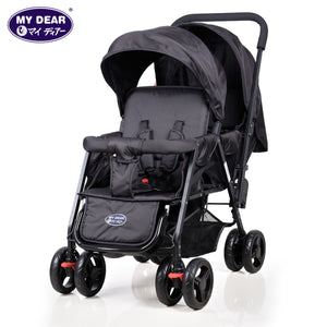 My Dear Baby Tandem Stroller 18080 With Dual Canopy, Recline Seats