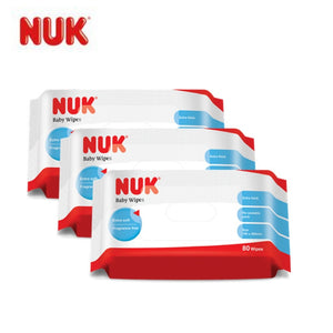 NUK Baby Wipes / Wet Tissues 80 Pieces x 3 Packs (Exp: 01/2022) Paraben Free Fragrance Free