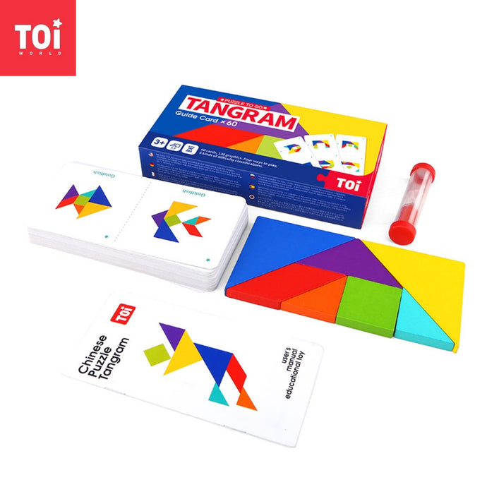Toi World Puzzle To Go Colorful Tangram With 60 Cards and 120 Graphics