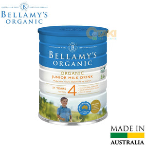 Bellamy's Organic Junior Milk Drink 900g Step 4. Suitable From 3 Years Old And Above. Rich In Calcium. Contain DHA, GOS & FOS. No Artificial Colors, Flavours.