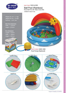 My Dear Inflatable 122cm Water and Ball Pool 33014 With 100 Balls Included Together
