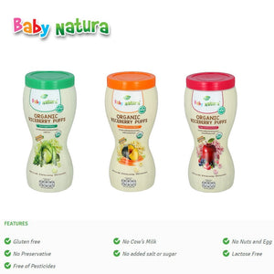 Baby Natura Organic Riceberry Puffs 40g Apple with Berries Flavour (Expiry: 08/2021)