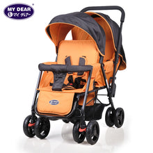 Load image into Gallery viewer, My Dear Baby Tandem Stroller 18080 With Dual Canopy, Recline Seats