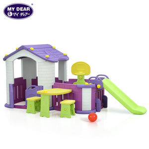 My Dear Playground Playhouse 29031 With Basketball Set, Side Table With Chairs and Children Slide