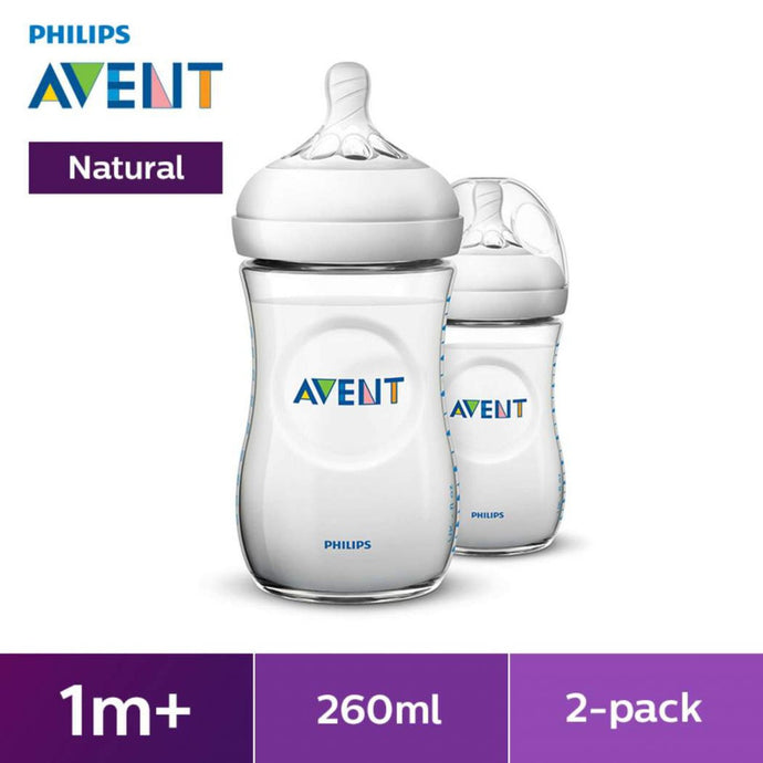 Philips Avent Natural Range 9oz/260ml Baby Bottles (Twin Pack)