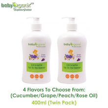 Load image into Gallery viewer, Baby Organix Kids & Family Top To Toe Cleanser 400ml TWIN PACK (Available in Cucumber, Grape, Peach or Rose Oil Flavors)