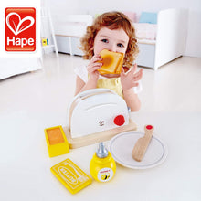 Load image into Gallery viewer, Hape 3148 White Wooden Pop Up Toaster Set, Pretend Play Kitchen Accessories for Kids Preschoolers