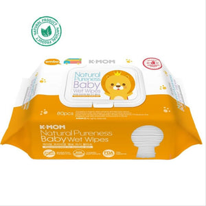 K Mom Natural Pureness Baby Wet Wipes / Tissues Premium Embossing 80 Pieces With Cap